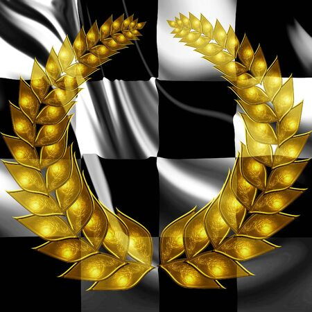 Checkered flag with wreath: a winner photo