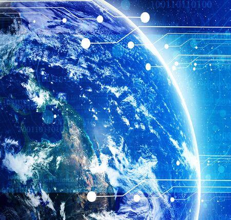 digital world with integrated planet earth Фото со стока