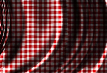Red picnic texture with some soft folds and shades photo