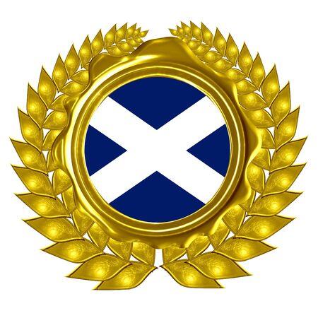 scottish flag: scottish flag in a wreath