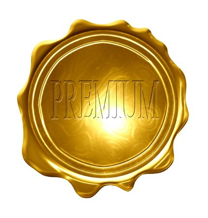 regulated: premium on a gold medal on a solid white background