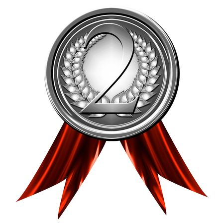 medalla de plata sobre un fondo blanco sólido
