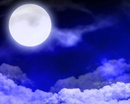 nightly: moon in the nightly sky on a dark background