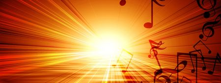 hot day: glowing sunset with musical notes