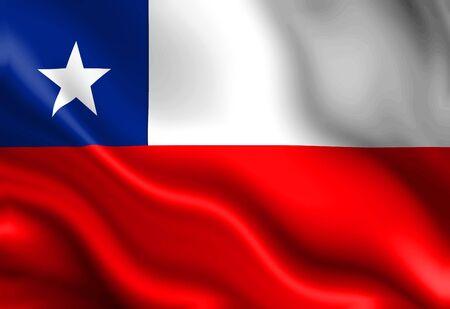 chilean flag: Chile bandera ondeando en el viento  Foto de archivo