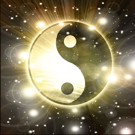 yin yang: Yin Yang sign on a black background Stock Photo