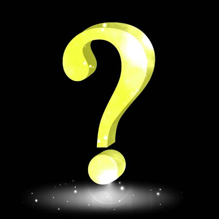 3d question mark on solid black background Stock Photo - 3130567
