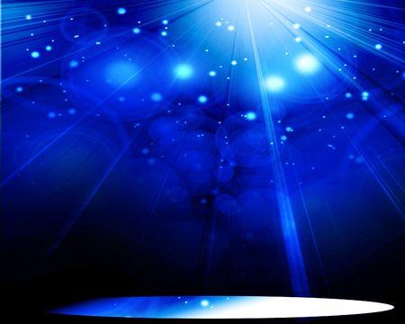 spotlight on a blue background