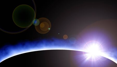 protuberances: Solar eclipse in outer space Stock Photo