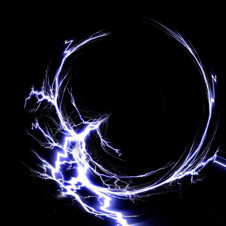 electrical spark on a solid black background photo