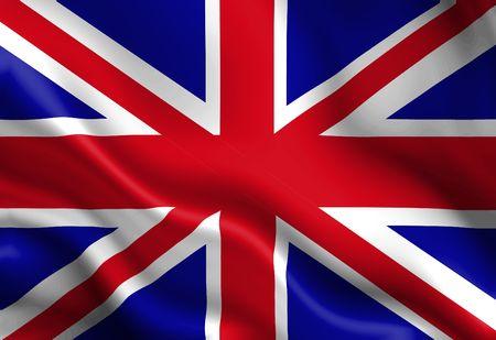 bandera de reino unido: Reino Unido bandera ondeando en el viento  Foto de archivo