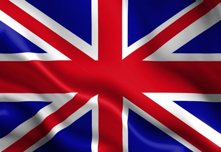 great britain: UK flag waving in the wind