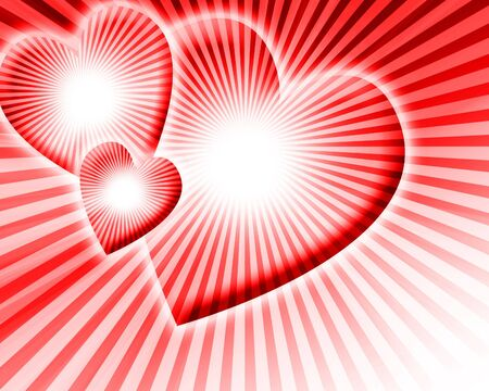 three red hearts on a red background with rays