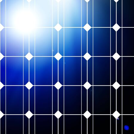 photocell: solar panel with intense lighting on a blue background