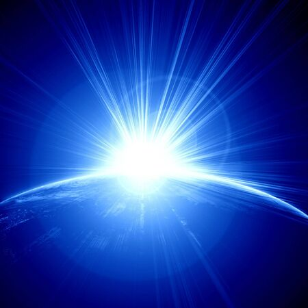 earthlike: Fantasy sunrise on planet earth Stock Photo