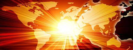 world map on a bright orange background