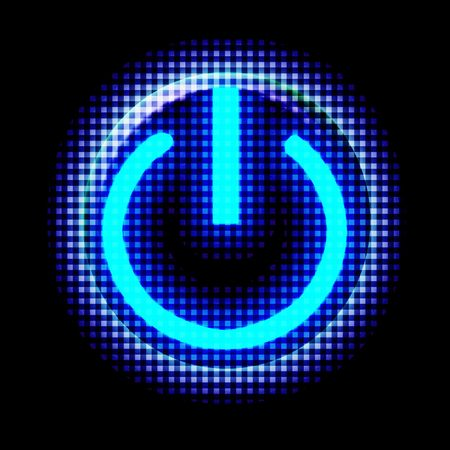 energize: Blue glowing power button Stock Photo