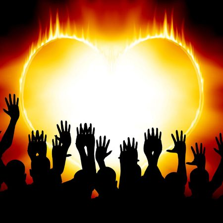 heartache: Heart on fire with some celebrating people Stock Photo