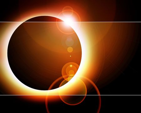 Sunrise in space on a black background Stock Photo - 3195438