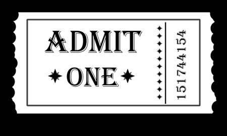 admit one: black and white admit one ticket for an event