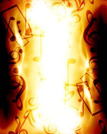 resplandor: notas musicales sobre un fondo de fuego