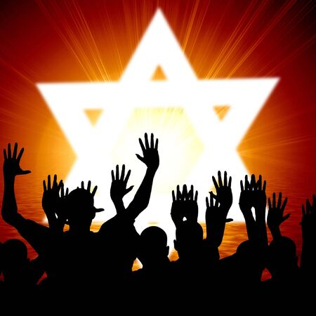 some jewish people celebrating beneath the star of david