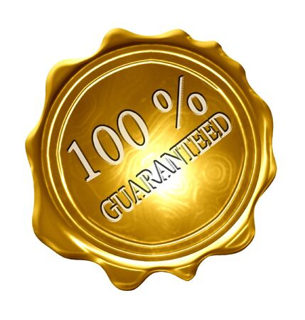 gold medal with 100 percetn guaranteed written on it photo
