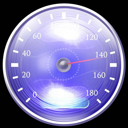 exceed: Speedometer isolated on a solid black background