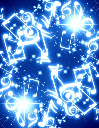 note pc: musical notes with sparkles on a blue background