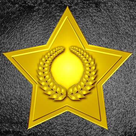 walk of fame: hollywood walk of fame: gold star with wreath Stock Photo