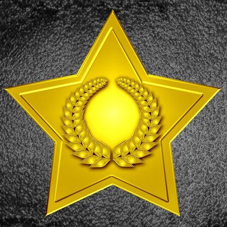 wiedererkennen: Hollywood Walk of Fame: Gold Stern mit Kranz  Lizenzfreie Bilder