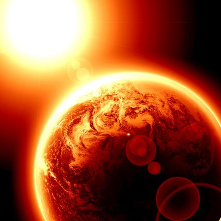 global warming: red planet earth in outer space photo