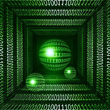 data transmission: Data transmission on a green background with bits and bytes Stock Photo