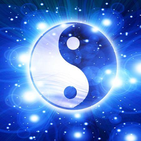 yin yang symbol: Yin yang symbol on a soft blue background Stock Photo