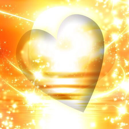 A heart surrounded by sparkles on a golden background