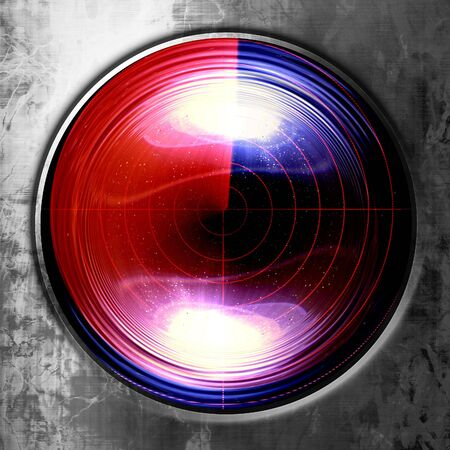 detect: red radar screen with a sharp reflection