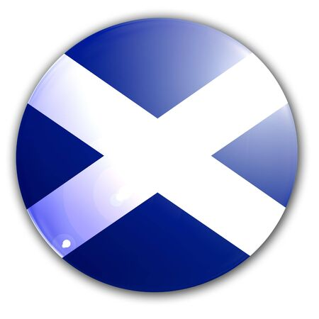 scottish flag: Scottish bandiera su una solida sfondo bianco