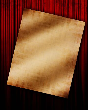 Movie or theater curtain with piece of paper 版權商用圖片