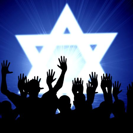 shalom: some jewish people celebrating beneath the star of david