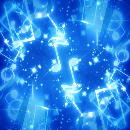 musical notes on a clear blue background Stock Photo - 3201654
