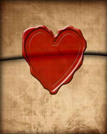 soulmate: Old paper love letter with wax seal Stock Photo