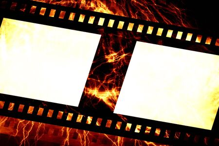emulsion: Old negative film strip on a fire like background