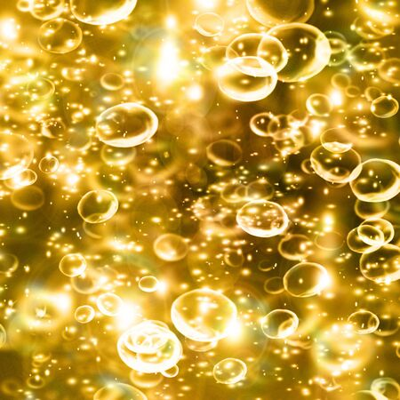 champagne bubbles on a golden background Stock Photo - 3201440