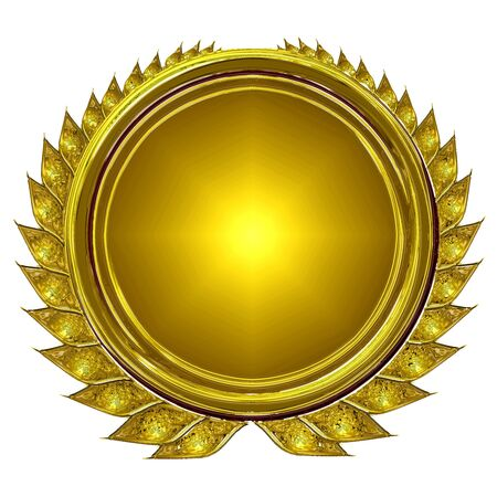 gold medal: isolated wreath on a solid white background