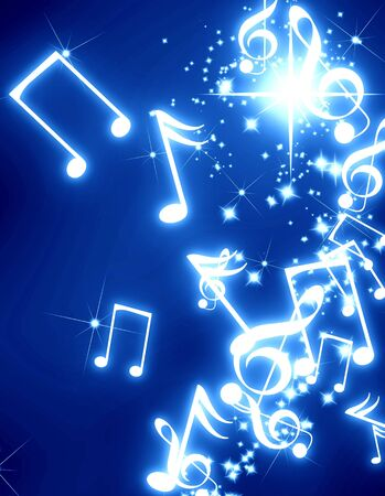 musical event: musical notes with sparkles on a blue background