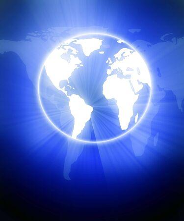 digital world on a blue background Stock Photo - 3201619