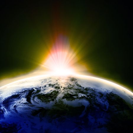 Earth as seen from space with some distant stars Stock Photo - 3201609