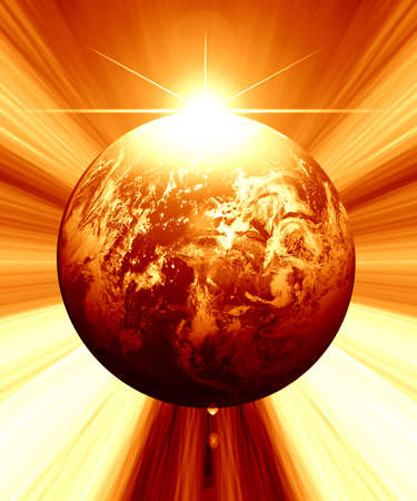 Earth illustration with intense rays and lighting Stock Illustration - 3201415