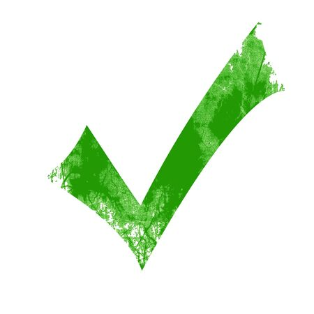 regulated: Isolated green approved tick on a solid white background