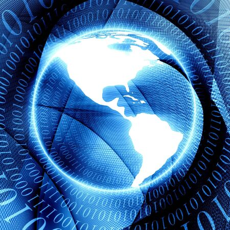 bytes: Circular bytes with globe Stock Photo